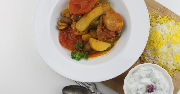 Eggplant Zucchini Stew Recipe l Khorake kadoo-bademjan